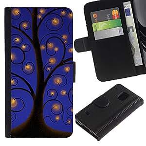 For Samsung Galaxy S5 V SM-G900,S-type® Drawing Sky Lights Blue - Dibujo PU billetera de cuero Funda Case Caso de la piel de la bolsa protectora