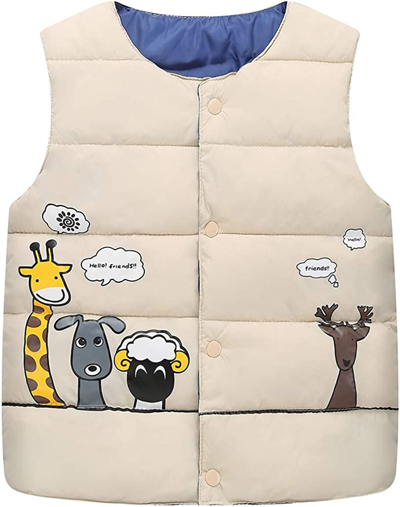 BISHE Unisex Baby Winter Lightweight Puffer Vest Cute Animals Waistcoat for Boys and Girls