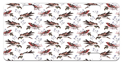 Birds Mini License Plate by Lunarable, Vintage Watercolor Effect Sparrows on Tree Branches Botanical Arrangement, High Gloss Aluminum Novelty Plate, 2.94 L x 5.88 W Inches, Brown Scarlet - Sparrow Scarlet