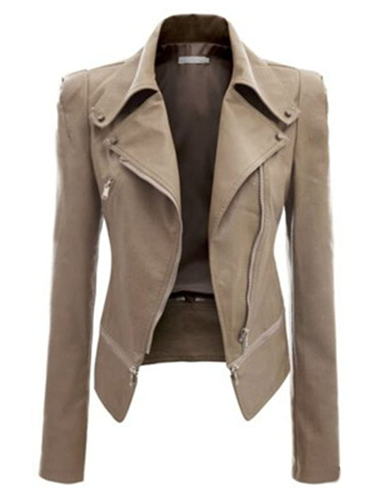 Bestgift Women's Solid Color Faux Leather Slim Fit Zip-up Short Jacket BSGFDR0932