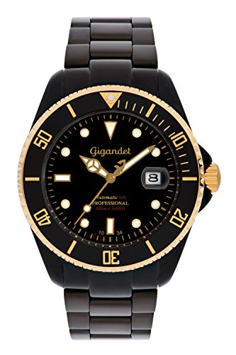 Gigandet Men's Automatic Pro Diver Watch Sea Ground Analog Stainless Steel 30atm Matt Black Gold G2-014