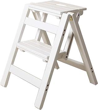 LJA Silla de comedor simple y hermosa Silla/taburete elegante Taburete plegable Silla de escalera plegable de madera maciza para el hogar - Escalera móvil de interior para escalar - Taburete con es: