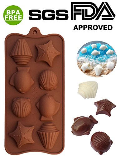 PERNY Marine theme, Starfish, Fish, Shells, Conch Shapes Silicone Chocolate Dessert Soap Crayon Ice Cake Decoration Mold, Reusable, BPA Free
