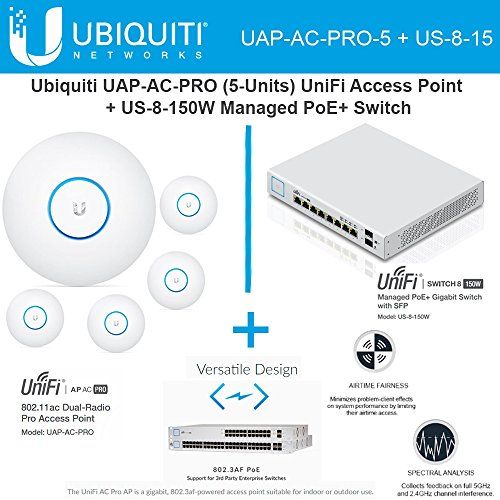 Ubiquiti UAP-AC-PRO-5 Pack UniFi Access Point + US-8-150W Managed PoE+ Switch by Ubiquiti Networks