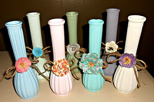 Bud Vases, Vintage, Upcycled, Hand Painted, Shabby Chic, Table Centerpices, Flower Holders, Jute and Flowers, Pastel Colors, Weddings, Anniversaries -