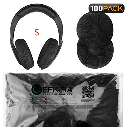 Geekria Stretchable Headphone Earpad Covers/Disposable Sanitary Earcup Fits Sennheiser HD219, HD229, HD239, HD218, HD228, HD38, HD220, Beats Solo3, Solo2, Wireless Headphones (100 Pairs, Black)