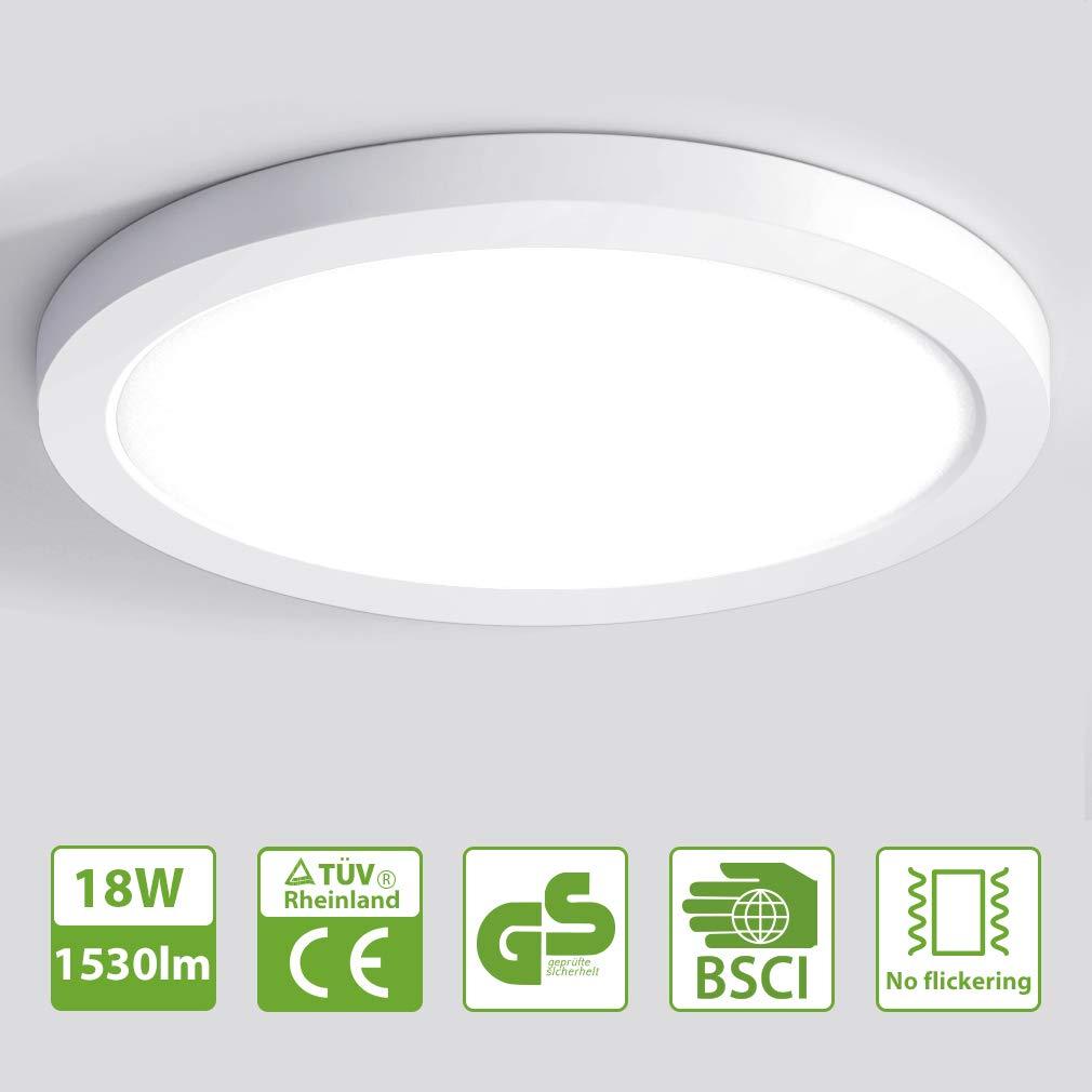 130W Gl/ühbirne Ersatz Oeegoo 18W LED Deckenleuchte 4000K /Ø21.5cm Flurlampe f/ür Wohnzimmer Deckenlampe Kinderzimmer Schlafzimmer Balkon K/üche Korridor 1530lm
