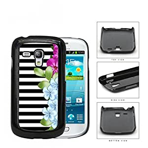 Black and White Horizontal Stripes with Pink and Blue Flower Design on Side Hard Snap on Cell Phone Case Samsung Galaxy S3 MINI I8190