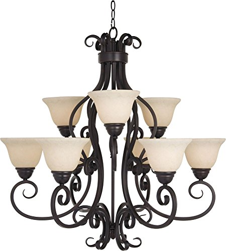 Maxim 12207FIOI Manor 9-Light Chandelier, Oil Rubbed Bronze Finish, Frosted Ivory Glass, MB Incandescent Incandescent Bulb , 60W Max., Dry Safety Rating, Standard Dimmable, Opal Glass Shade Material, Rated (Manor Oil Rubbed Bronze Chandelier)