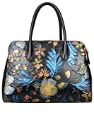PIJUSHI Designer Flower Handbags Ladies Handmade Leather Tote Shoulder Bags Holiday Gift (65069 black floral) (one Size, 65069 black floral)
