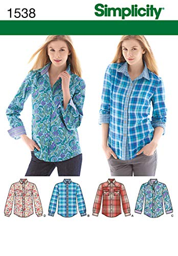 - Simplicity Pattern 1538 Misses Shirt with Sleeve and Fabric Variations Sizes 6-8-10-12-14