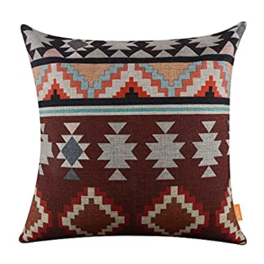 LINKWELL 18 x18  Ethnic Pattern Design Attractive Burlap Cushion Covers Pillow Case (CC1016)