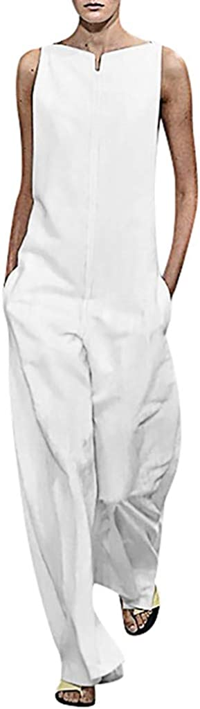 Womens Jumpsuit Solid Color One Word Collar Sleeveless Cotton Leisure Zipper Loose Jumpsuit