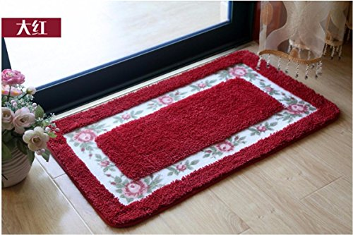 Bathroom water-absorbing mats floor mats door mats door bathroom kitchen -4060cm Red by ZYZX