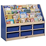 ECR4Kids Colorful Essentials 4-Tier Book Display Stand with 6 Storage Compartments, Blue