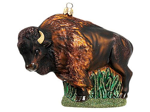 Pinnacle Peak Trading Company American Bison Buffalo Polish Blown Glass  Christmas Ornament Tree Decoration