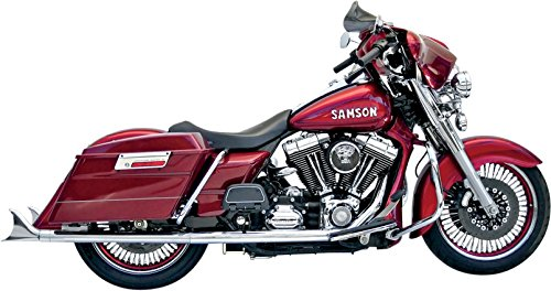 Samson True Dual Crossover Exhaust System - 33in. Slip-Ons with Removable Longtail Tips - Chrome , Color: ()