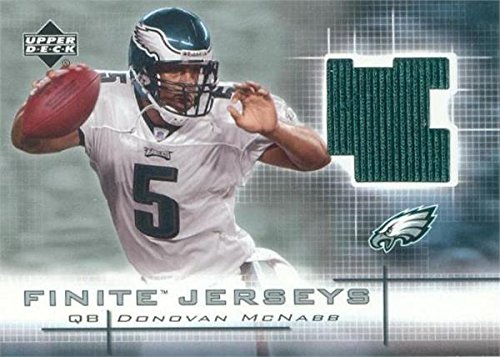 2003 Upper Deck Patch - Donovan McNabb player worn jersey patch football card (Philadelphia Eagles) 2003 Upper Deck Finite #FJMC