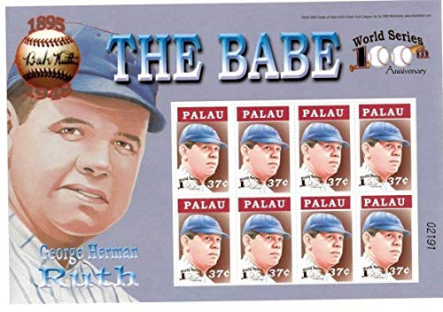 (Baseball Hall of Fame Legends - Babe Ruth - 100th Anniversary of The World Series - Rare Collectors Stamps - Palau)