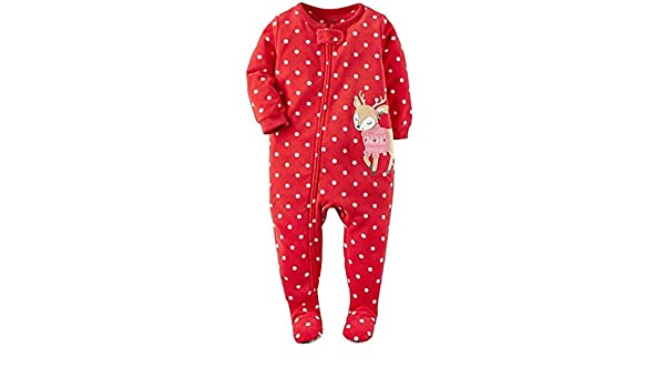 Red Dots//Reindeer Carters Girls Footed 1 Piece Zip Up Soft Fleece Sleepwear Pajamas 13 12M,