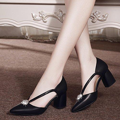 Taladro Medio Y Sandalias De Punta Único Primavera De Zapatos Zapatos Agua Tacones De black Heels Rough GTVERNH Verano 5IqpOx5w