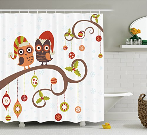 Christmas Shower Curtain by Ambesonne, Owls on Celebrating Twiggy Tree Branches Annual Yule Noel Christmas Themed Print, Fabric Bathroom Decor Set with Hooks, 70 Inches, Multicolor (Noel Decorations Christmas)