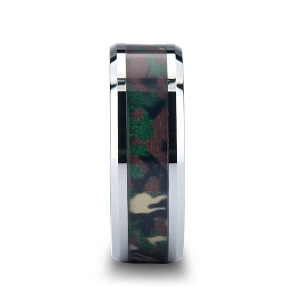 Tungsten Carbide Beveled Wedding Ring Military Design Jungle Camo Pattern Inlay 8mm Band