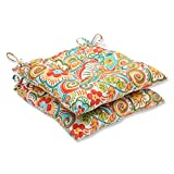 Cheap Pillow Perfect Outdoor Bronwood Carnival Wrought Iron Seat Cushion, Multicolored, Set of 2
