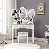 HONBAY Trifold Mirrors Makeup Vanity Table Set, Cushioned Stool and Surprise Gift Makeup Organizer with 7 Drawers Dressing Table (White)