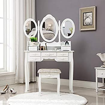 Amazon Com 2pc Vanity Set With Stool In Off White Finish Kitchen Amp Dining