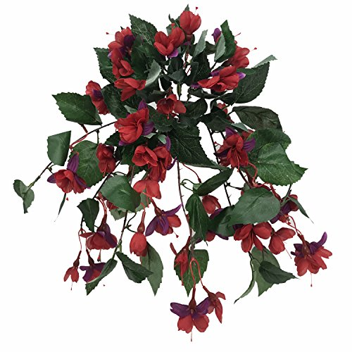 FloristryWarehouse Artificial Silk Fuchsia Bush Trailing 15 Inch Red Purple (Best Artificial Flowers Uk)