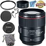 Canon EF 85mm f/1.4L IS USM Lens 2271C002 + 77mm UV Filter + Fibercloth + Lens Capkeeper Bundle