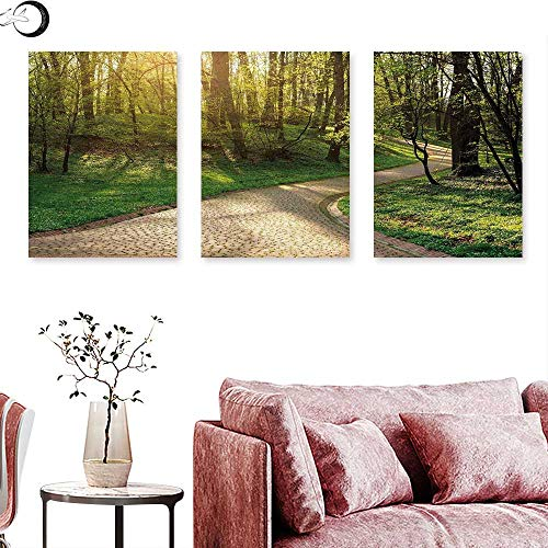 - Outdoor Living Room Home Office Decorations Footpath Green City Park Sun Rays Freshness Hiking Forest Tranquil Botany triptych art set Green Beige Yellow triptych art canvas W 24