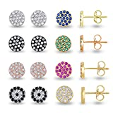 SPOIL CUPID 925 Sterling Silver AAA CZ/Quartz Mini Pave Disc Round Circle Stud Earrings Size 6mm