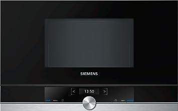 Siemens BF634LGS1 iQ700 - Microondas integrable / encastre sin marco sin grill, 21 L, 900 W, color negro con acero inoxidable