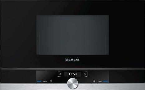 Siemens BF634RGS1 iQ700 - Microondas integrable / encastre sin marco sin grill, 21 L, 900 W, color negro con acero inoxidable