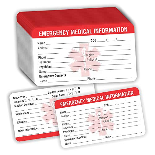Emergency Medical Information ID Card (Pack of 25) 3.5