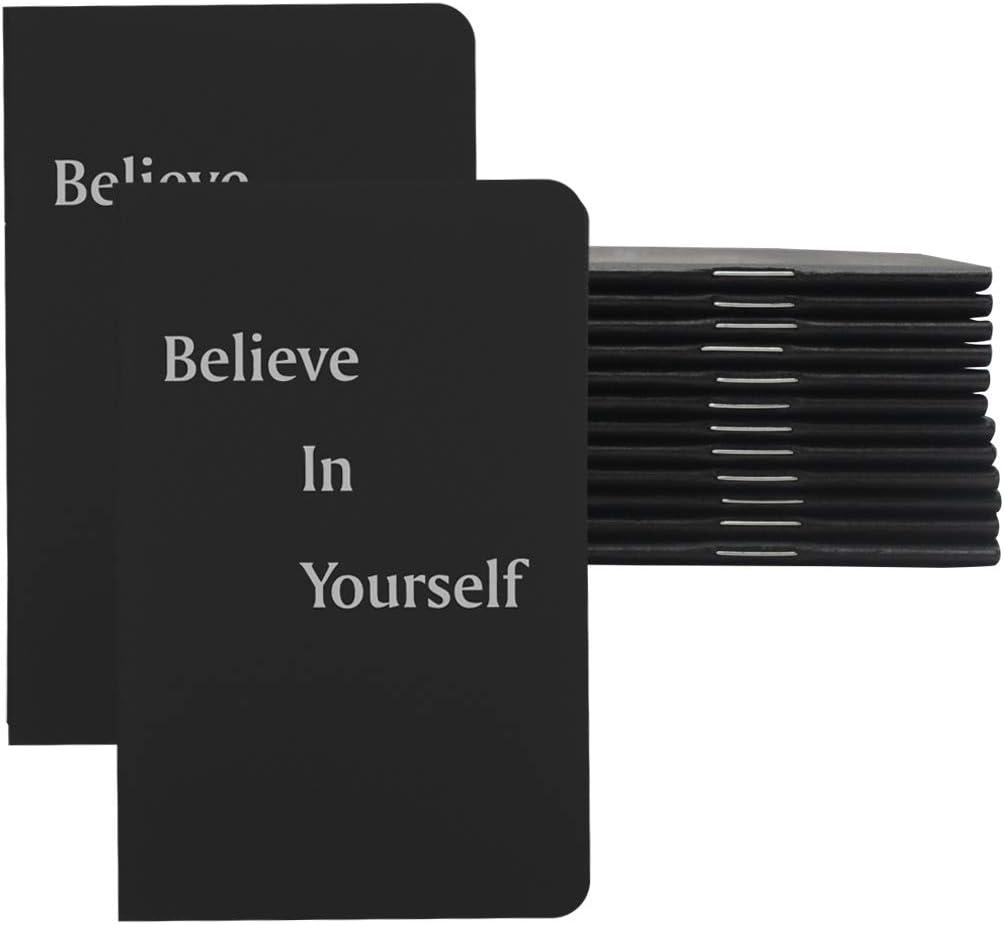 Yansanido 12pack Pocket Notepad, 3.5''x5.5'' Small Notebooks Journals, Mini Journals Portable Steno Books Mini NoteBooks (Black, Lined-Believe)