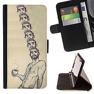 Momo Phone Case / Flip Funda de Cuero Case Cover - Retrato Café Sin camisa hombre Barba caliente - Sony Xperia Z3 D6603