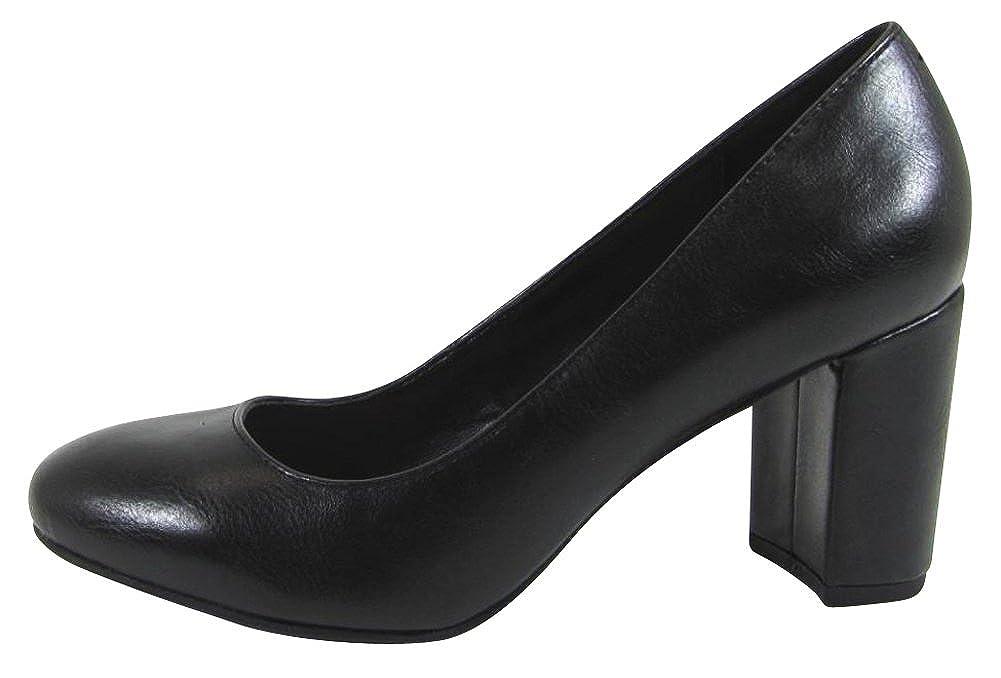 b433d9e4b23b0 Cambridge Select Women's Classic Slip-On Padded Comfort Chunky Block Closed  Round Toe High Heel Dress Pump