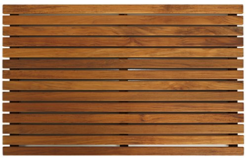 Cedar English Garden - Bare Decor Zen Spa Shower or Door Mat in Solid Teak Wood and Oiled Finish, 31.5 by 19.5-Inch