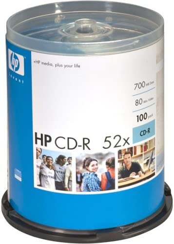 100 HP Blank CD-R CDR Recordable Logo Branded 52X 700MB 80MIN Media Disc