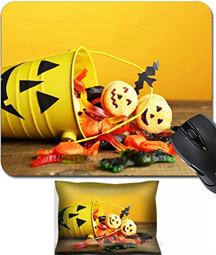 MSD Mouse Wrist Rest and Small Mousepad Set, 2pc Wrist Support design 33459530 Different sweets for Halloween party on wooden table on yellow (Halloween Sweets Table)