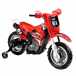 Honda CRF250R Scale Replica 6V Powered Ride-on Dirt Bike with Working Horn and Realistic Engine Start Sound, Training Wheels for Beginners, Stylish Decals, Perfect for Kids Who Like the THRILL!
