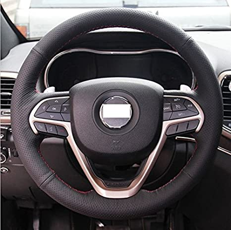 LEATHER STEERING WHEEL COVER FOR JEEP CHEROKEE KJ 02-07 LIGHT GREY DOUBLE STITCH