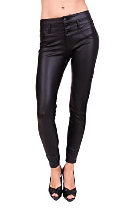 dfc709d211593 Celebrity Pink Women Black Coated Skinny Pants With 3 Front Button