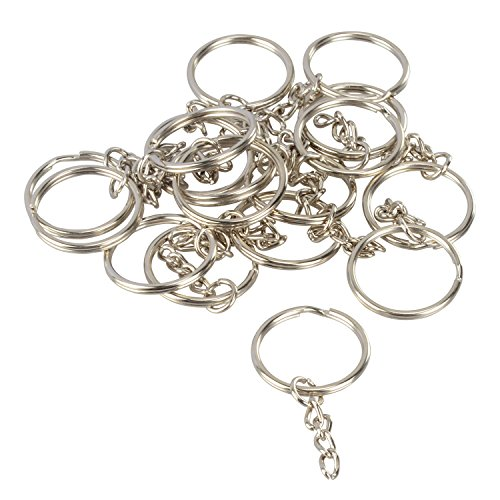 Pawfly 100 PCS Split Key Rings with Chain Bulk for DIY Acces