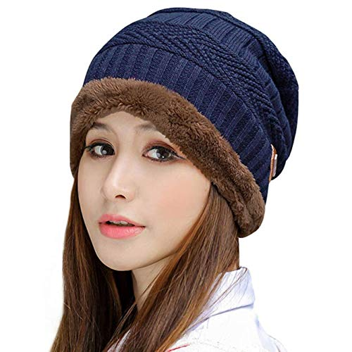 Muryobao Thick Warm Winter Beanie Hat Slouchy Skully Knit Hats Soft Stretch Ribbed Cap for Women Snow Ski Navy Blue