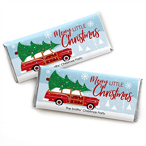 Big Dot of Happiness Personalized Merry Little Christmas Tree - Custom Car Christmas Party Favors Candy Bar Wrapper - Set of 24 (Wrap Personalized Christmas)
