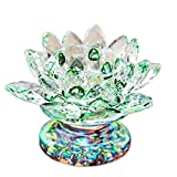 Waltz&F Green Crystal Lotus Flower Tealight Candle Holder Centerpieces Dia Approx 4.5'
